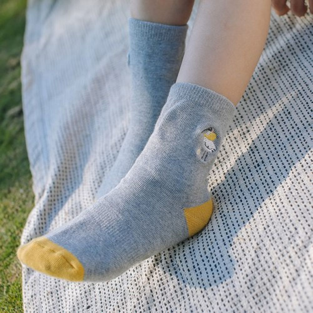minihope美好的親子生活 - 抗菌除臭中筒襪(親子襪)-黑面琵鷺-灰