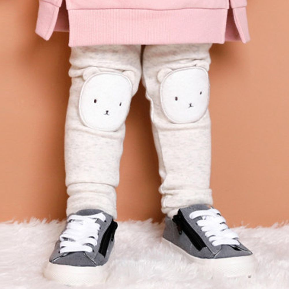 韓國 milke mile - (內刷毛)熊熊膝蓋補丁內搭褲-燕麥白