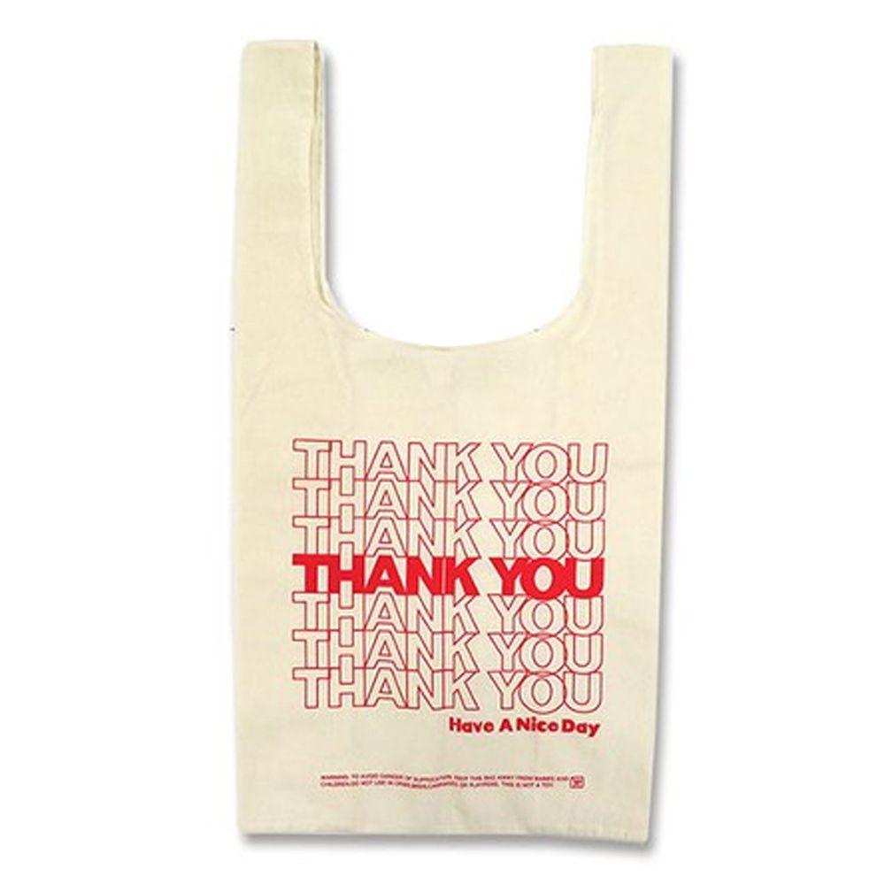 日本 OKUTANI - 折疊購物袋(純棉)-THANK YOU-米 (32x60x16cm)