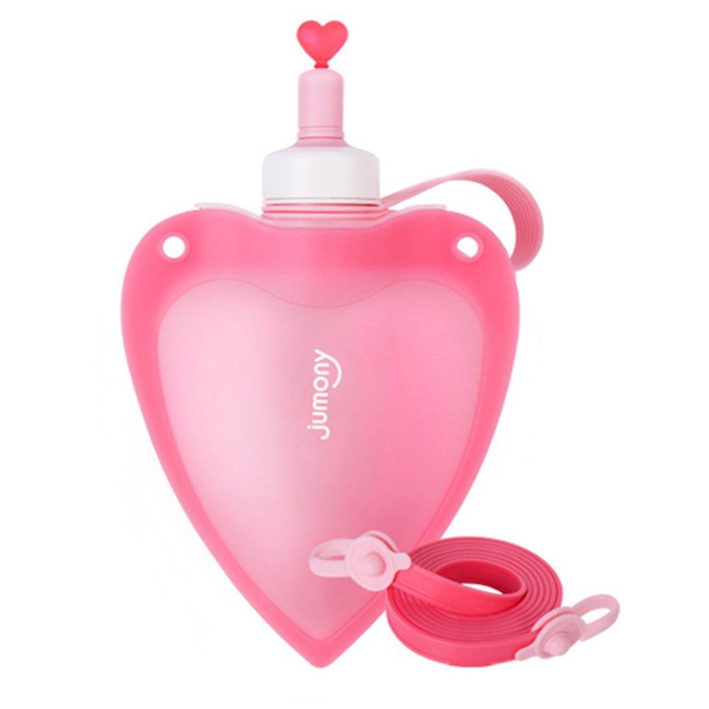 韓國 sillymann - 100%鉑金矽膠兒童便攜捲式心型水瓶-粉色-250ml