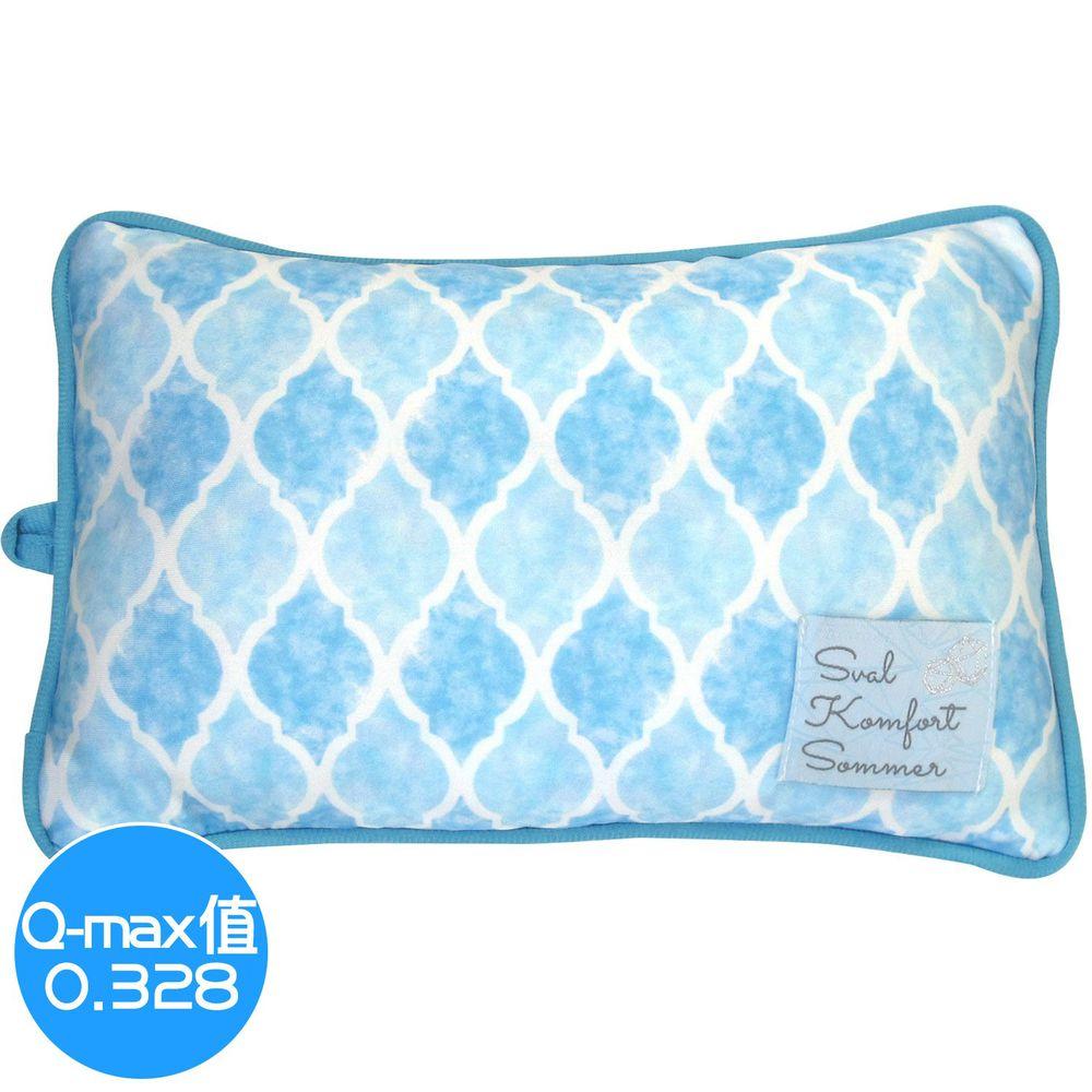 日本 DAIKAI - 接觸涼感小枕頭/午睡枕-菱格-水藍 (30x20cm)