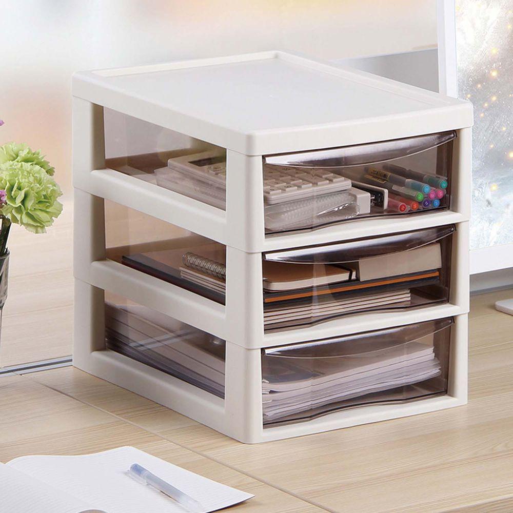 日本JEJ - 辦公桌上型A4文件收納櫃-3大抽-米白