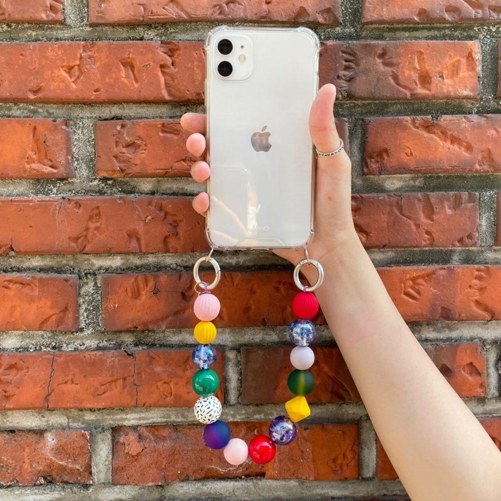 韓國 ARNO - 設計款串珠手鍊手機殼-七彩寶石