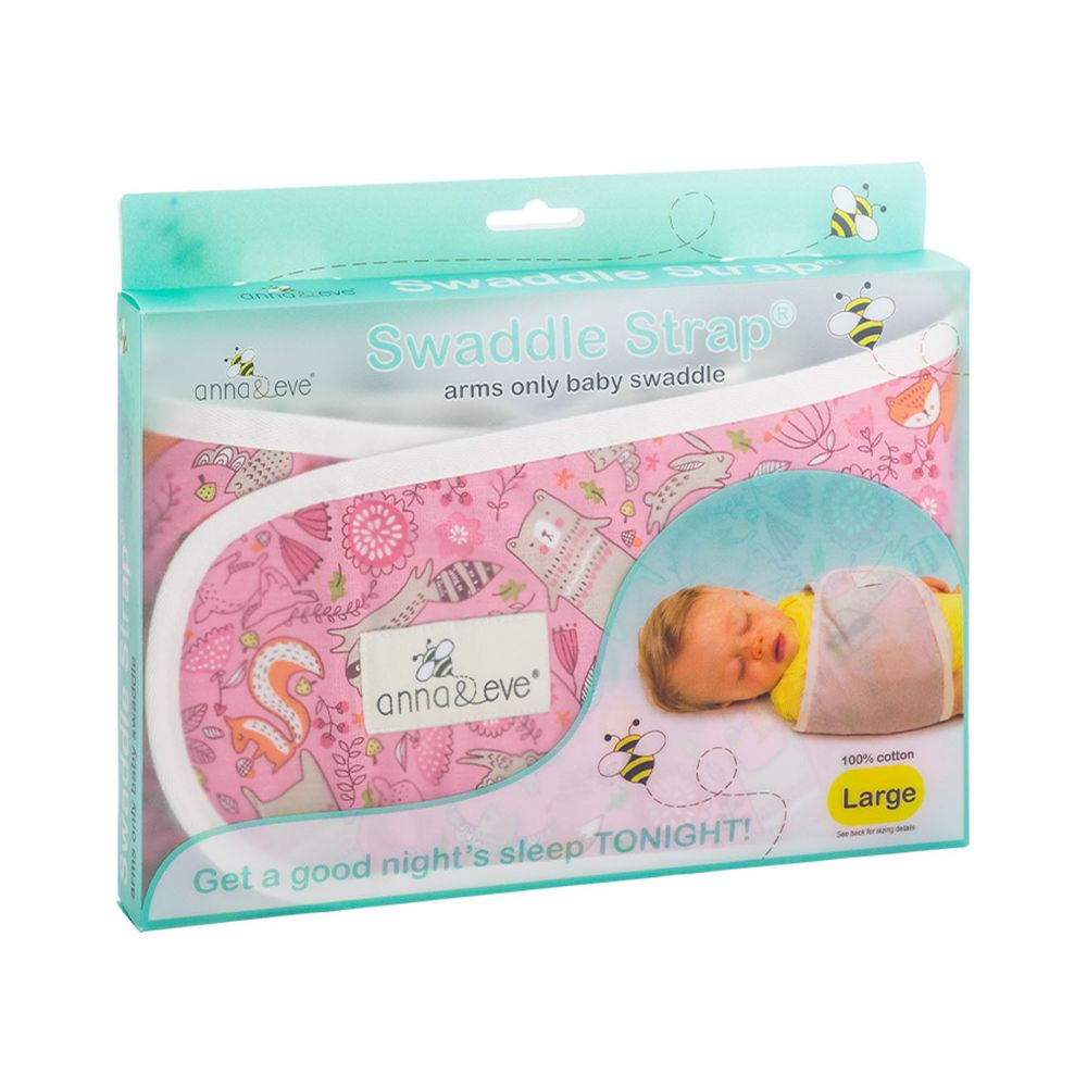 Anna&Eve - 美國 嬰兒舒眠包巾 / 防驚跳新生兒肚圍-粉色動物俱樂部