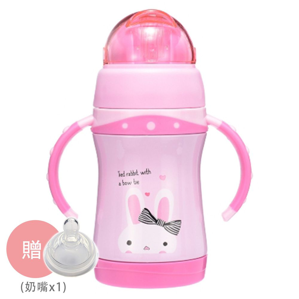 BABY TALK - 可愛動物不鏽鋼2用水杯-兒童水壺-蹦蹦兔-粉紅色 260ml-獨家贈替換奶嘴*1