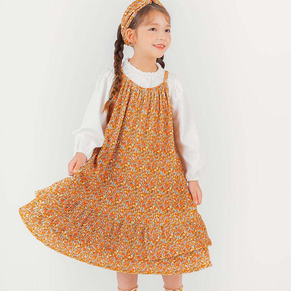 韓國 OZKIZ - (附髮帶)彩色花花皺褶感洋裝