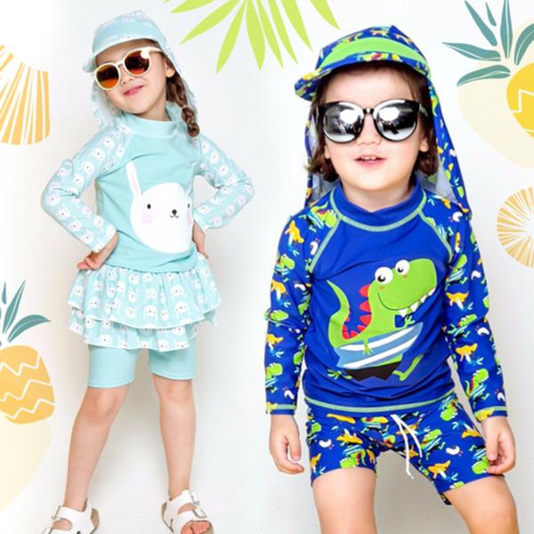 UPF 50+ 韓國 Vaenait Baby 防曬泳衣&泳帽 ♥