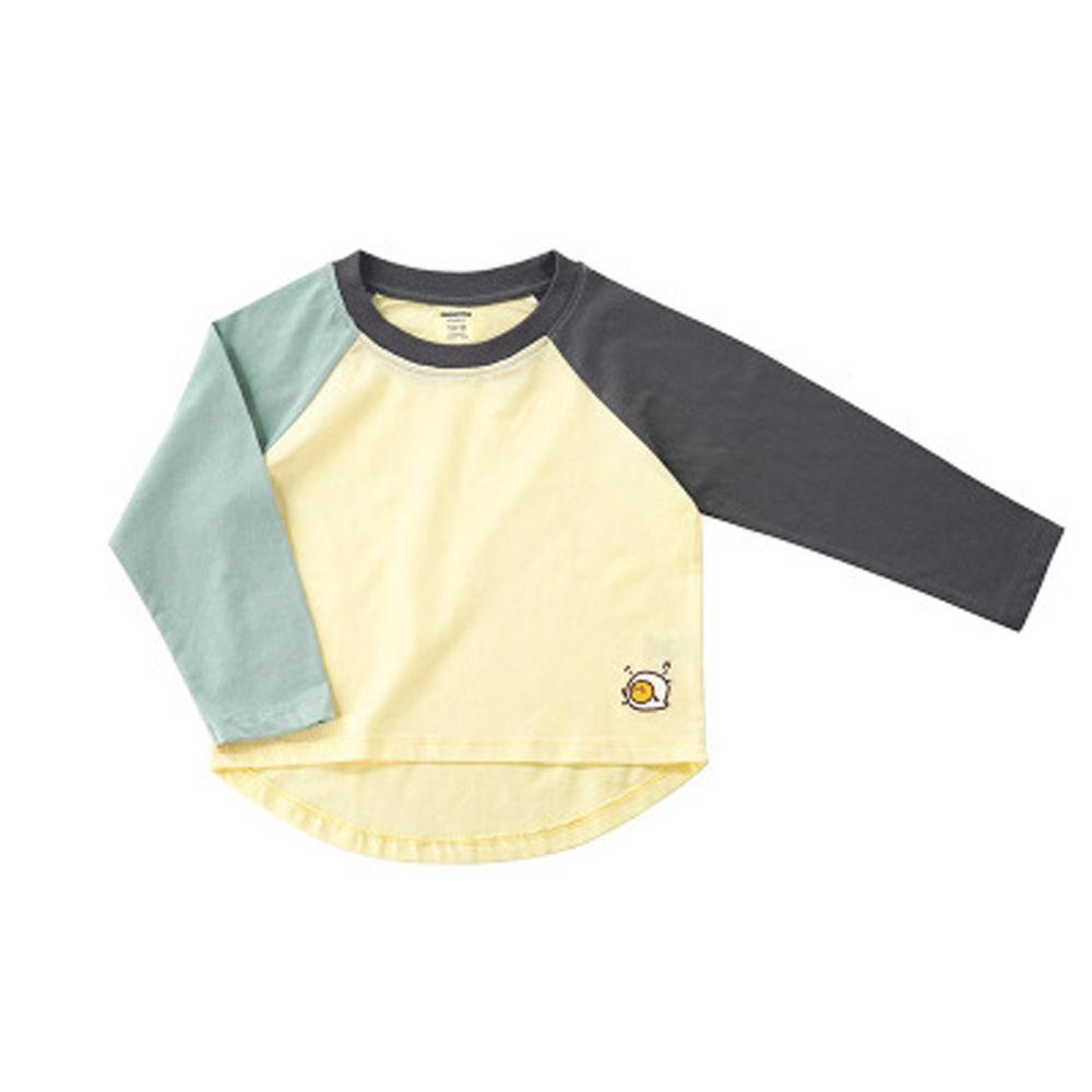 Minizone - 培根蛋吐司撞色長袖T恤-藍色