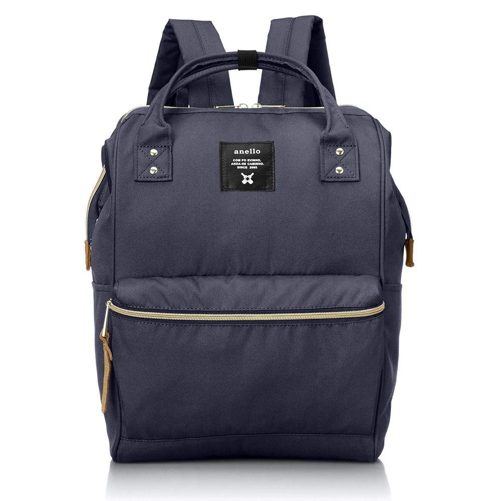 日本 Anello - 日本大開口牛津布後背包-Regular大尺寸-NV海軍藍
