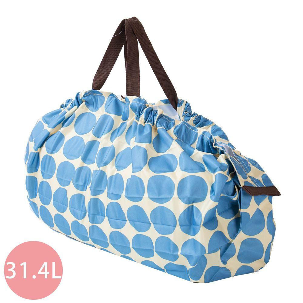 日本 MARNA - Shupatto 秒收摺疊購物袋(可掛購物籃)-藍點點 (L(50x38cm))-耐重15kg / 31.4L
