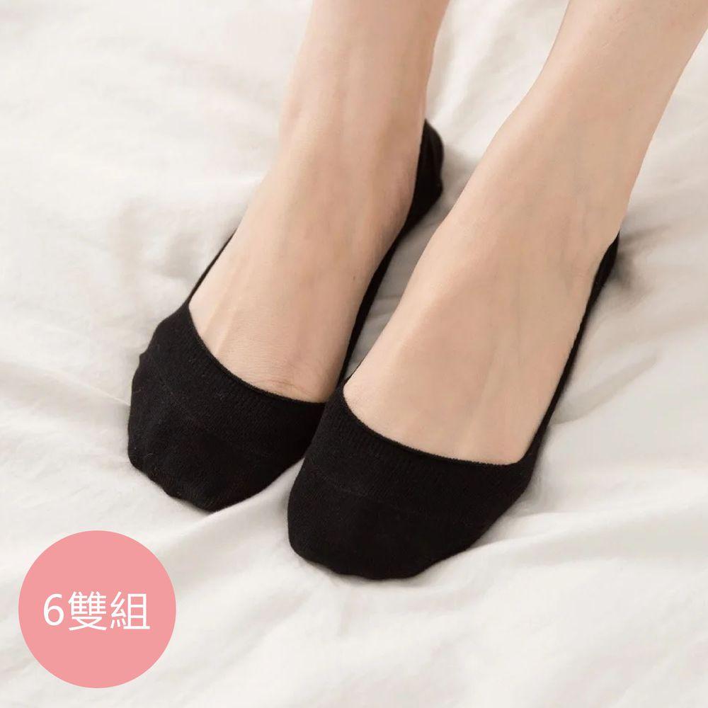 貝柔 Peilou - 貝柔0束痕柔棉止滑襪套-彩色繽紛/素色(6雙組)-黑色 (22-26 cm)