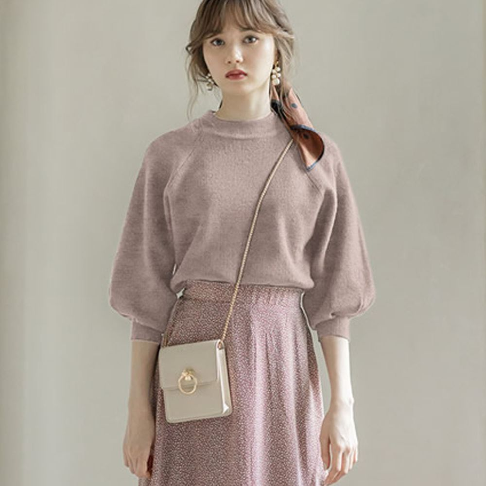 日本 GRL - 小高圓領七分袖薄款針織上衣-灰杏