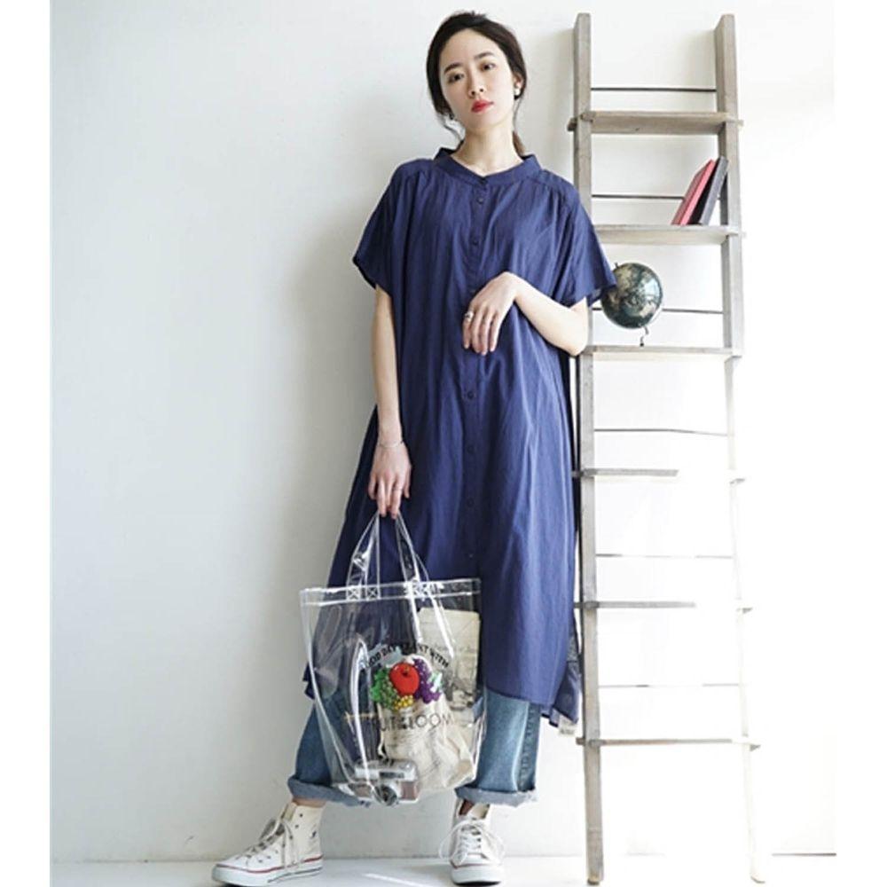 日本 zootie - 純棉顯瘦剪裁輕薄傘狀短袖洋裝/外套-海軍藍 (F)