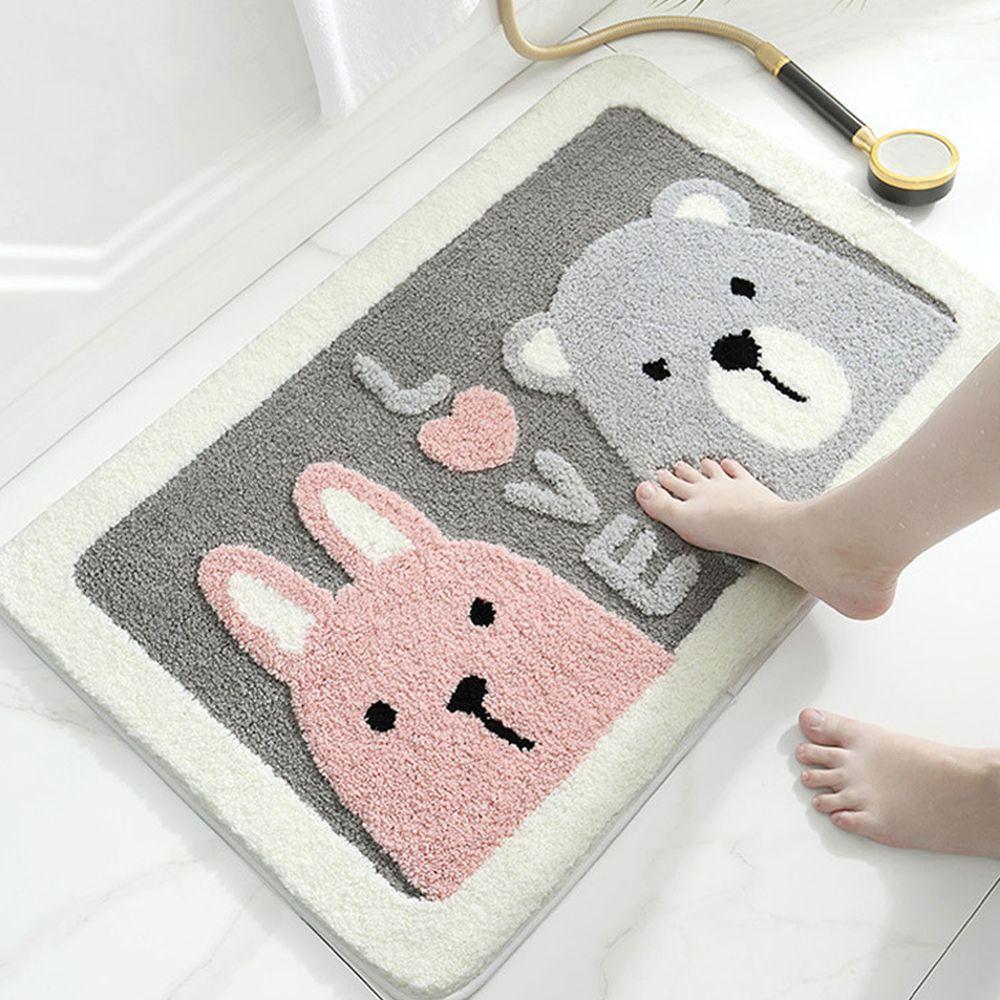 快速吸水植絨浴室腳踏墊-熊熊與兔子