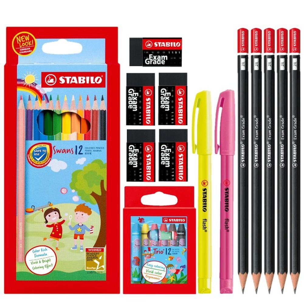 STABILO思筆樂 - 開學超值組-油性色鉛筆12色+上榜樂2B鉛筆5入+環保無毒橡皮擦5入+三角油性粉蠟筆12色+炫彩螢光筆2入