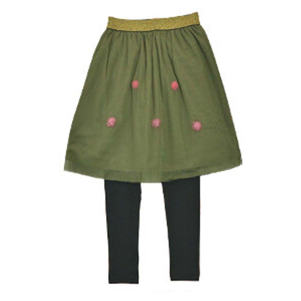 日本 TORIDORY - 澎澎薄紗內搭褲裙-球球-墨綠