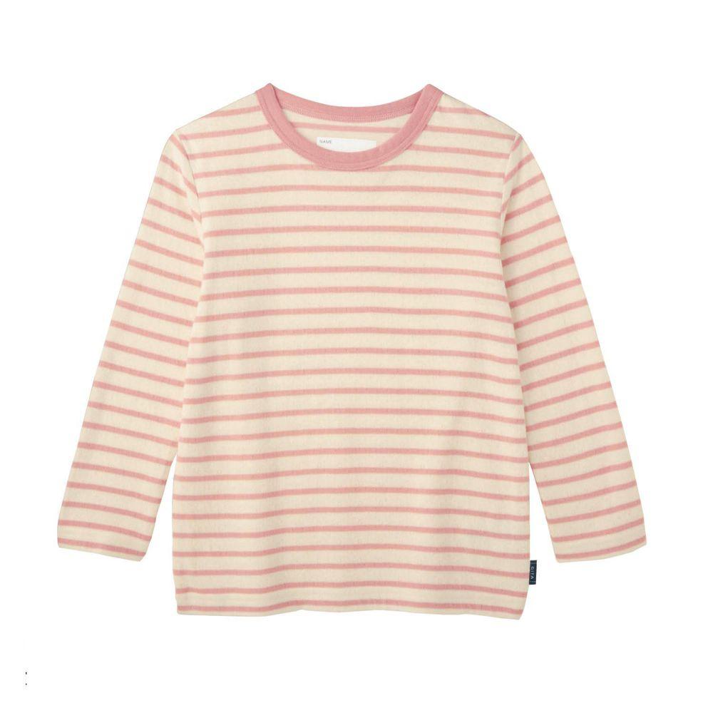日本千趣會 - GITA 純棉輕薄舒適長T-橫條紋-粉紅