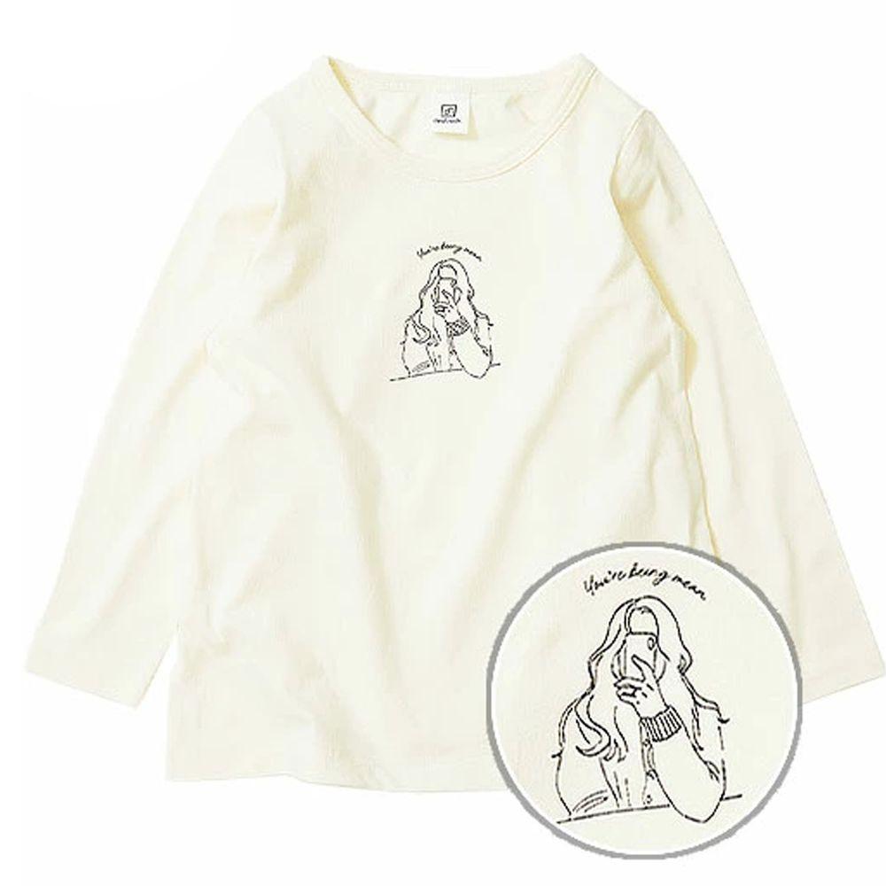 日本 devirock - 純棉 定番百搭印花長T-拍照少女-白