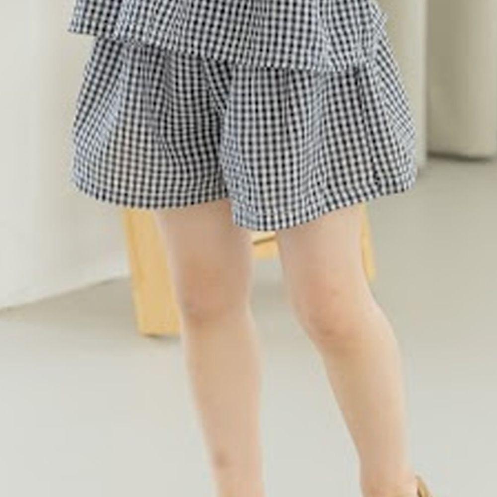 韓國 Orange Mom - 格子涼感寬褲-黑