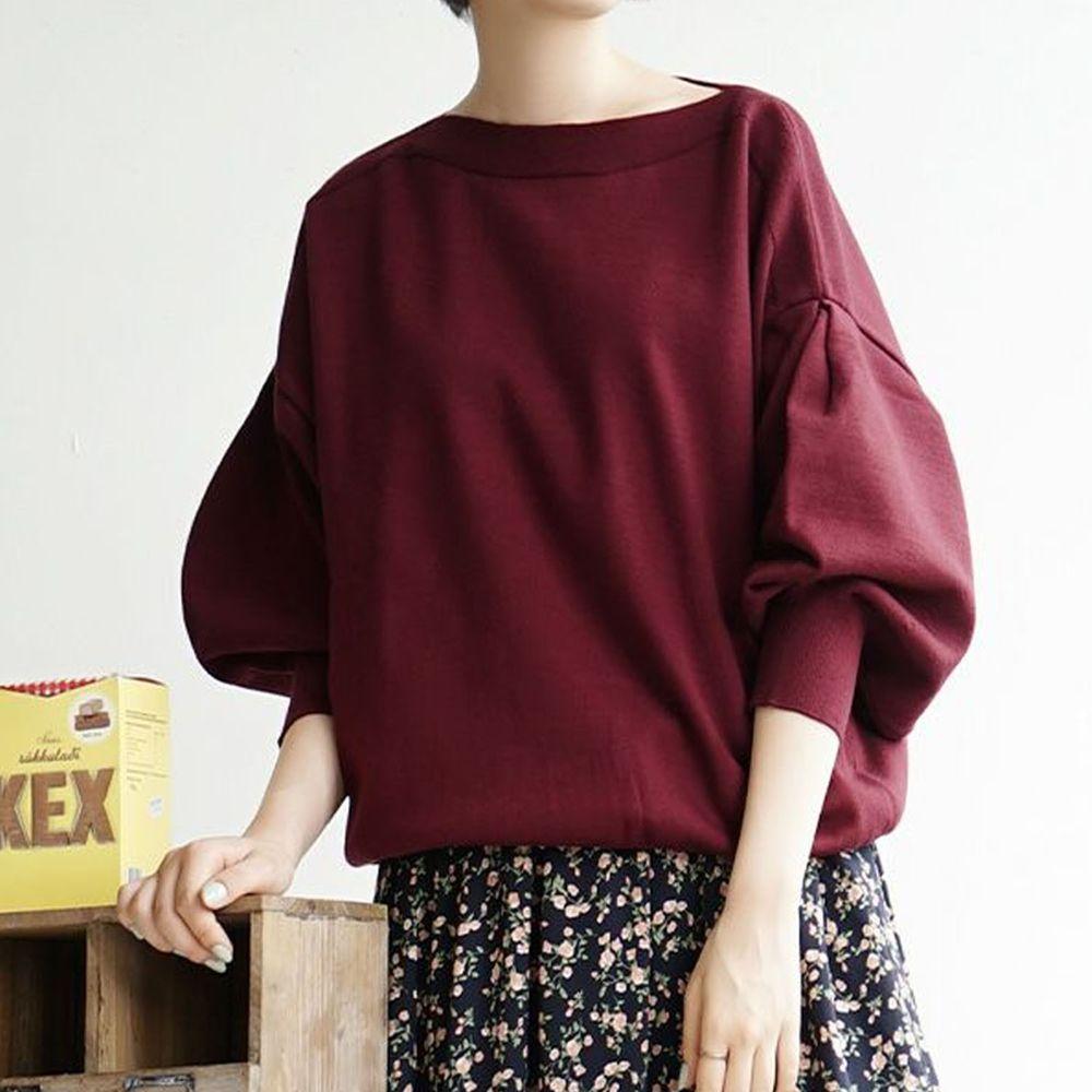 日本 zootie - 澎袖剪裁廣口針織上衣-紫紅
