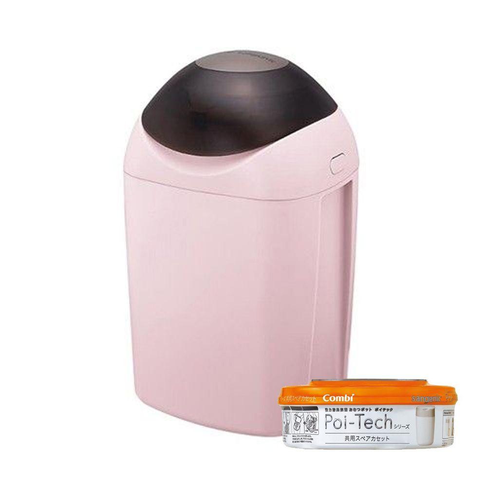 日本 Combi - Sangenic Poi-Tech 尿布處理器-玫瑰粉 (PI)-附專用衛生抗菌膠膜捲-柑橘香x1入組