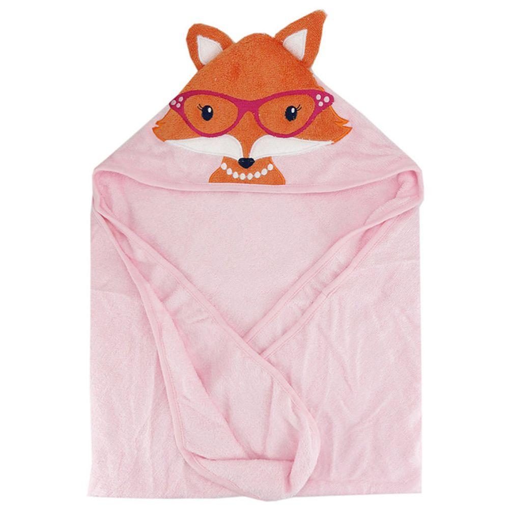 美國 Luvable Friends - 嬰幼兒動物造型100%純棉連帽浴巾/包巾-微笑狐狸