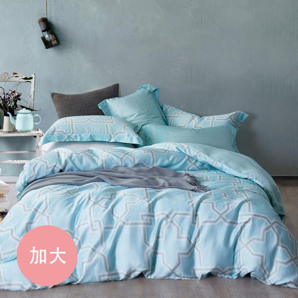 PureOne - 天絲系列.TENCEL寢具組-相約地中海-加大四件式床包鋪棉被套組