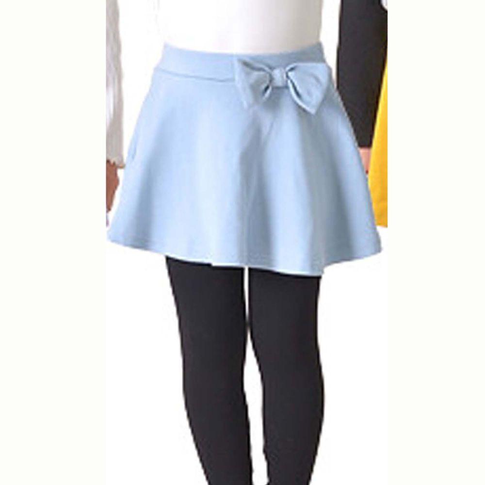 日本 TORIDORY - 百搭內搭褲裙-蝴蝶結-水藍