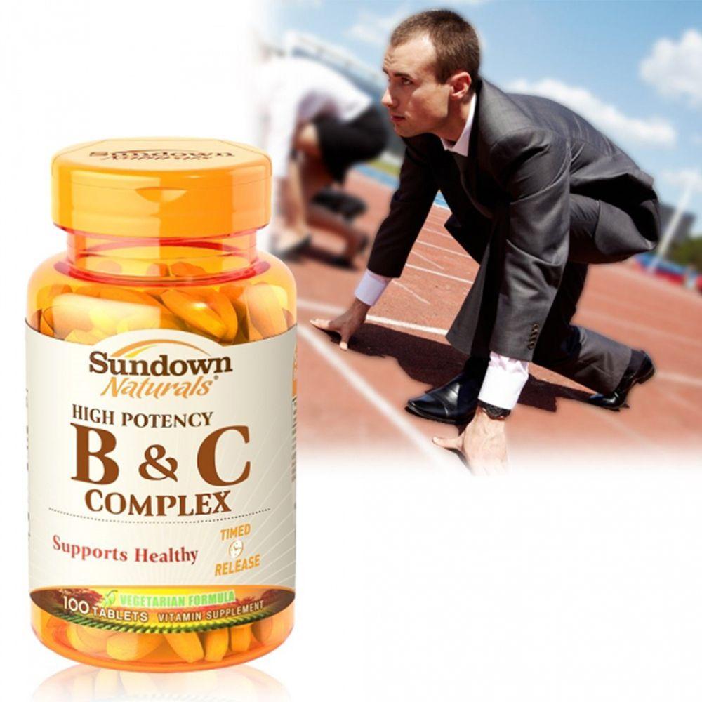 美國Sundown日落恩賜 - 高單位緩釋型B群+C(B12強化配方)_效期至2021/10/31-100錠