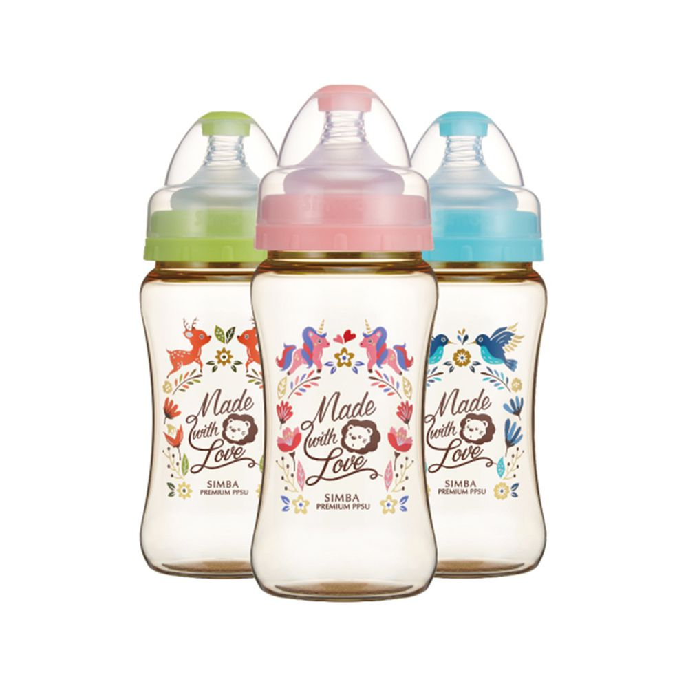 Simba 小獅王辛巴 - 桃樂絲PPSU寬口雙凹中奶瓶-3支組(270ml)-均色(丘比特+圓舞曲+獨角獸)-三款各1支