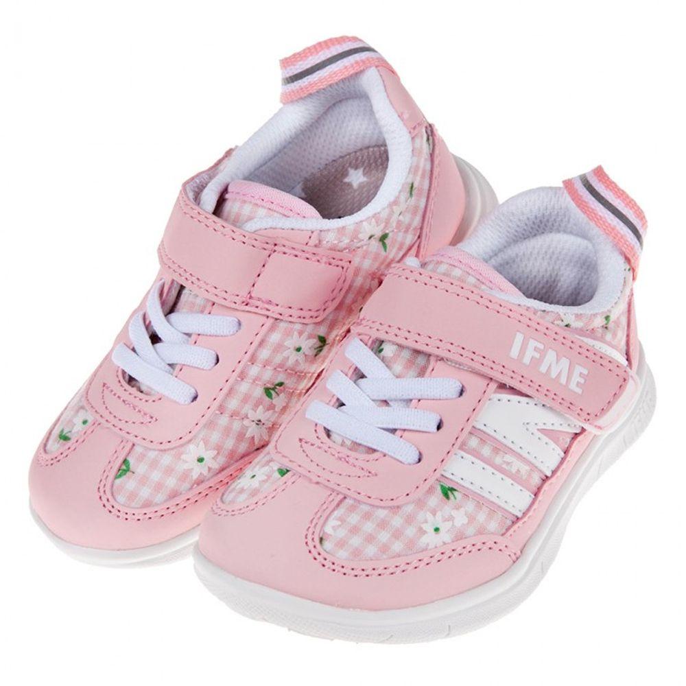 日本IFME - 日本IFME格紋花朵粉色超輕量兒童機能鞋