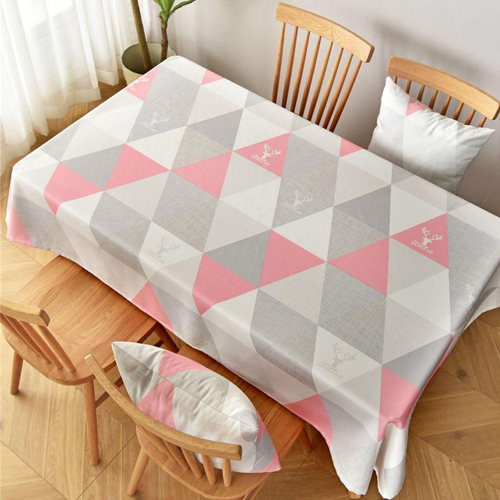 防水防油免洗桌布-三角形-灰粉色