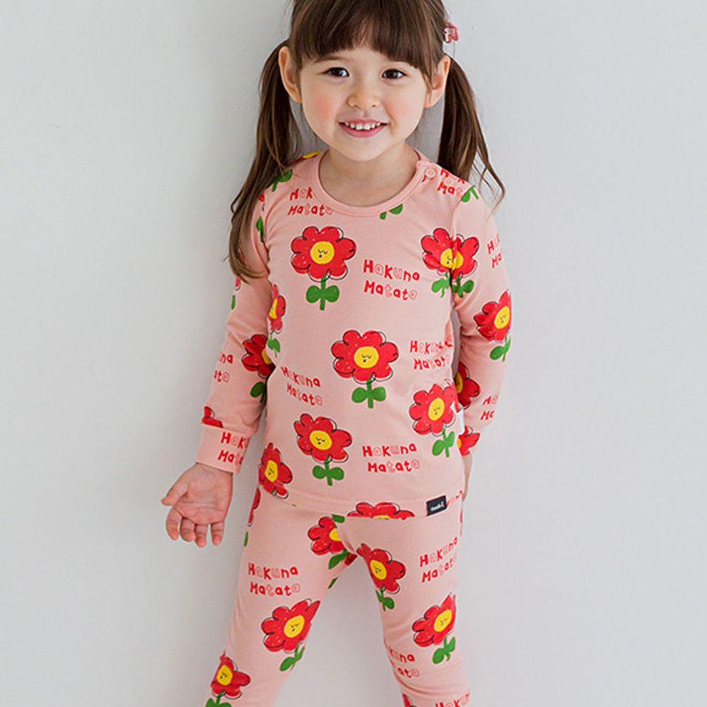 韓國 Cordi-i - 無螢光棉薄款長袖家居服-粉紅花園