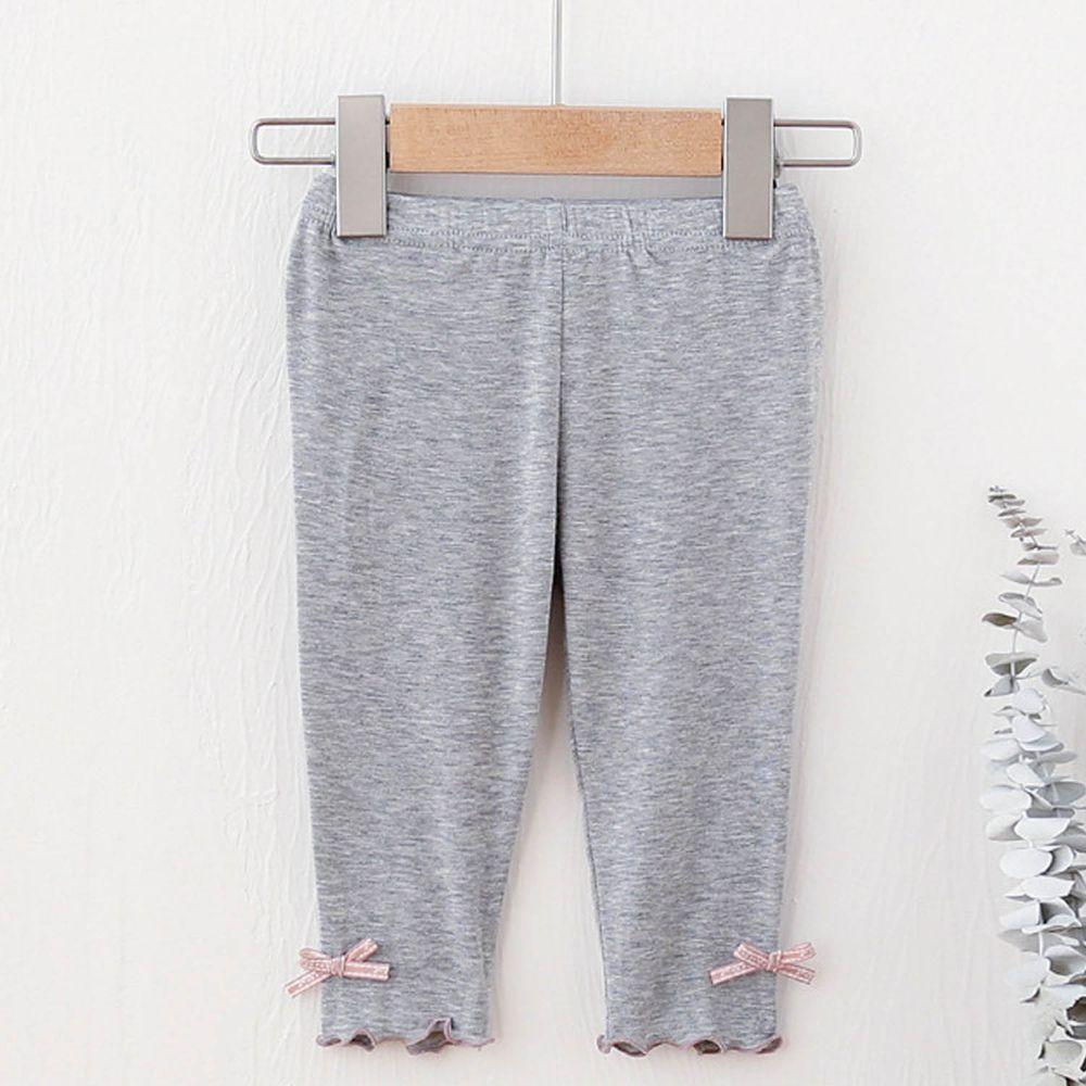 FANMOU - 七分內搭褲(莫代爾)-蝴蝶結-灰色