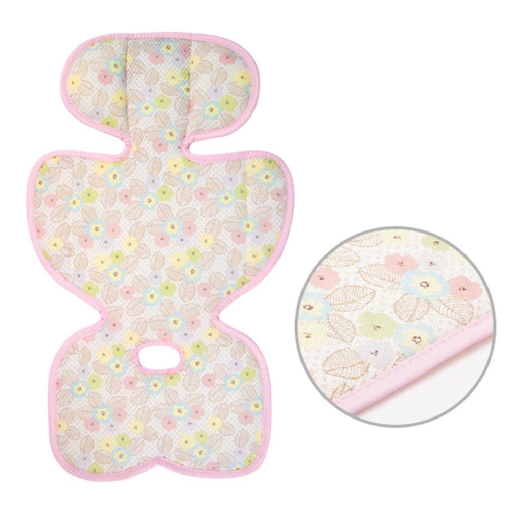 韓國 GIO Pillow - ICE SEAT 超透氣推車/汽座專用涼爽座墊-豪華款-B型(裙型)-粉漾花朵