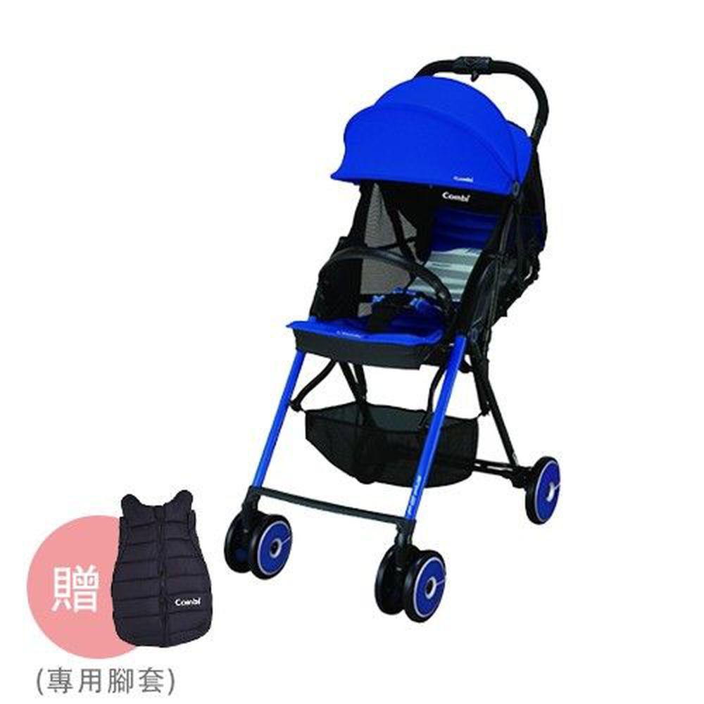 日本 Combi - F2plus AF 超輕靚單向嬰兒手推車-腳腳暖暖組-爵士藍-送專用腳套x1