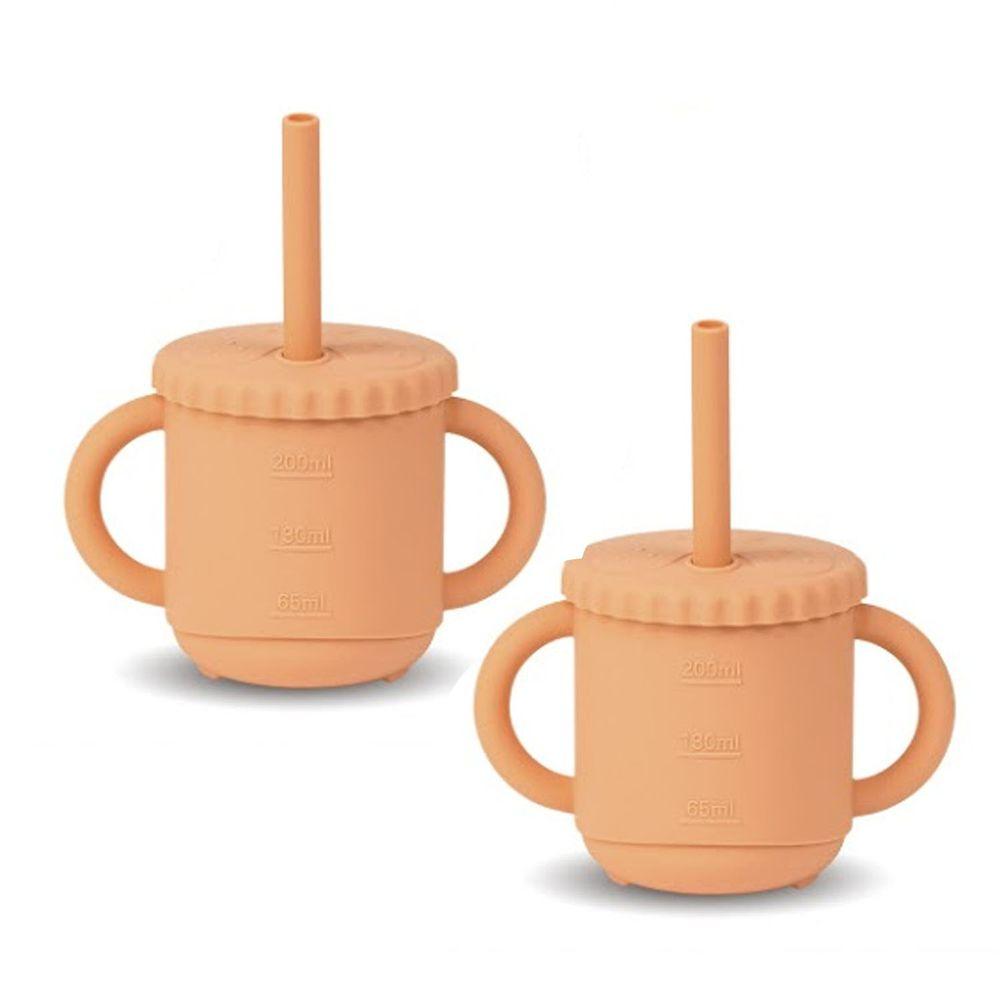 KOM - 台灣製矽膠環保無毒寶寶學習杯兩入-軟糖橘 (270ml)