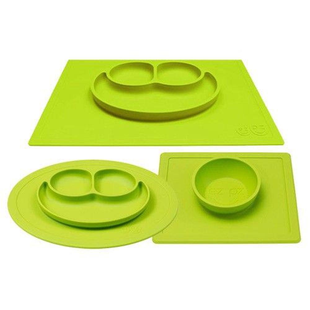 美國 ezpz - 快樂餐盤 Happy Mat+Bowl+Mini Mat-餐盤+餐碗+迷你餐盤-蘋果綠