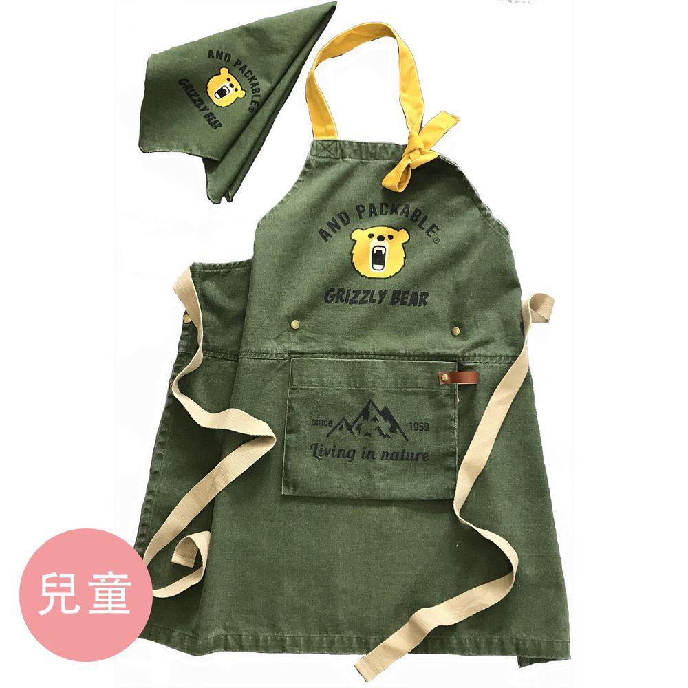 日本代購 - 印度棉質感兒童料理圍裙(可調尺寸/收納)+頭巾兩件組-小熊-墨綠 (100-160cm)