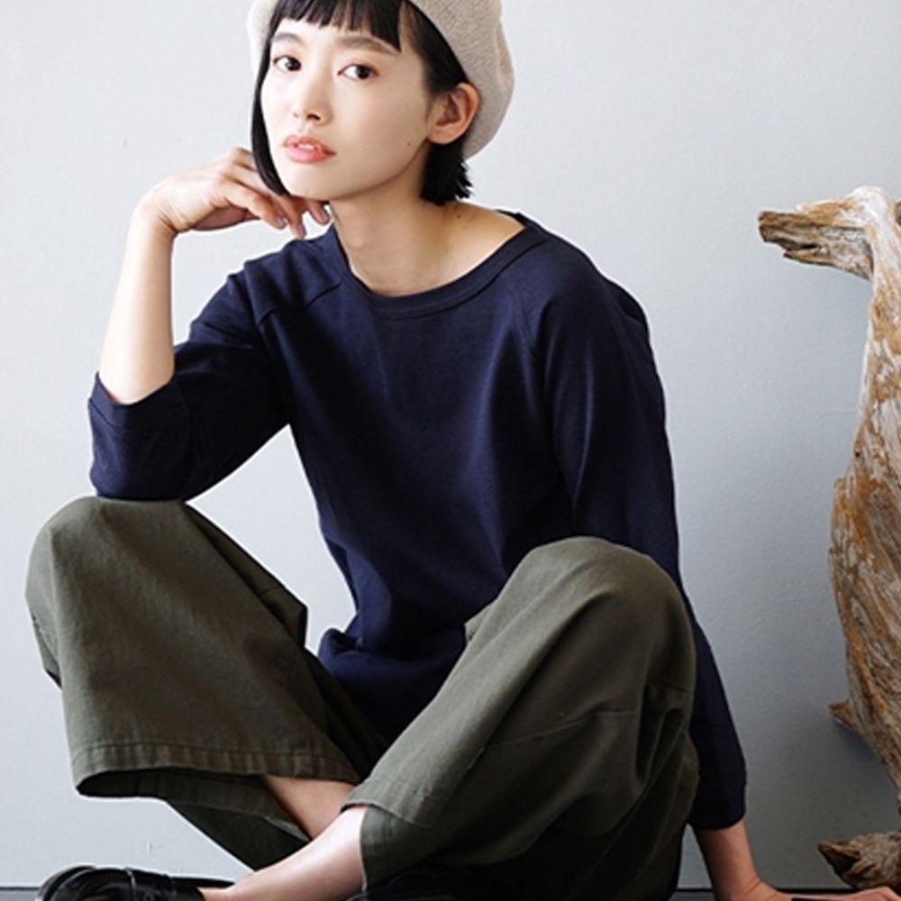 日本 zootie - [撥水/撥油加工] 抗油污耐洗純棉七分袖上衣-深藍