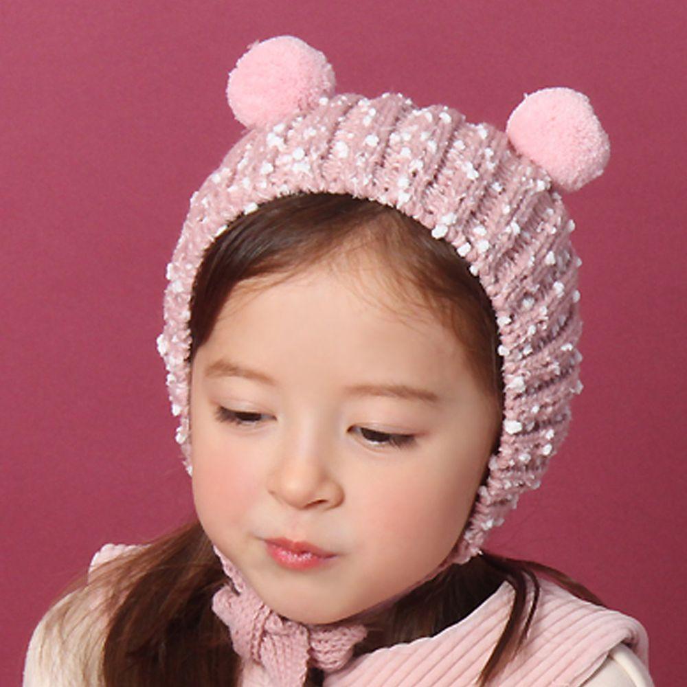 韓國 Babyblee - 雙球雪花鈕釦式針織毛線帽-粉紅 (FREE)