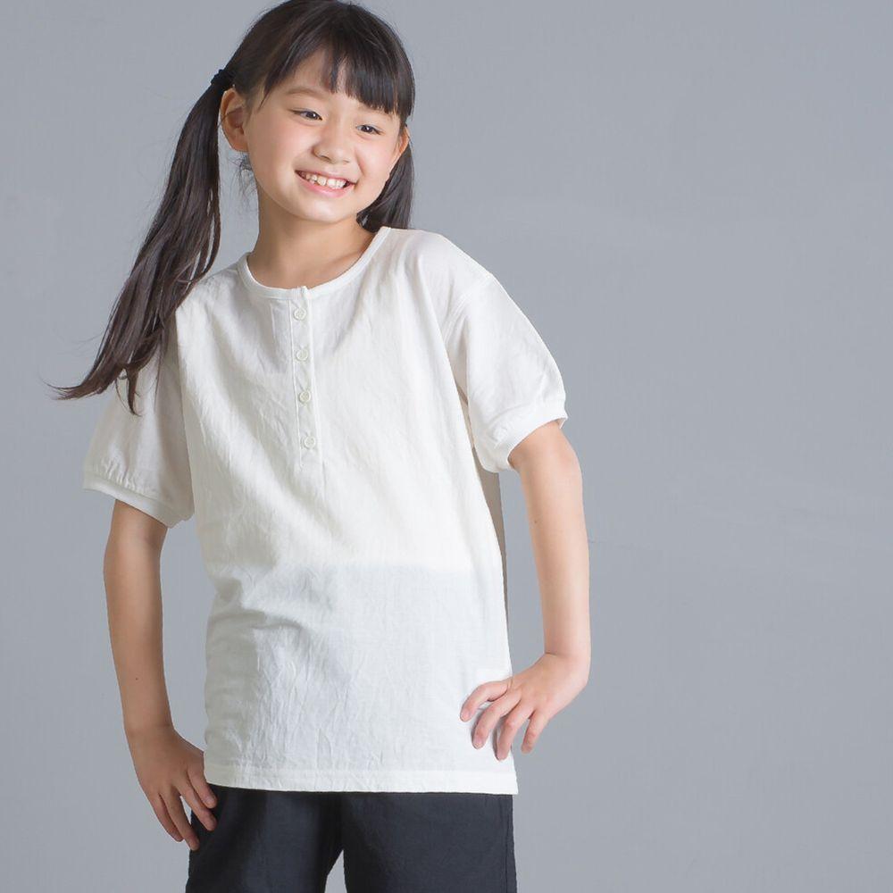 日本女裝代購 - 接觸冷感 排釦圓領短T(兒童)-白