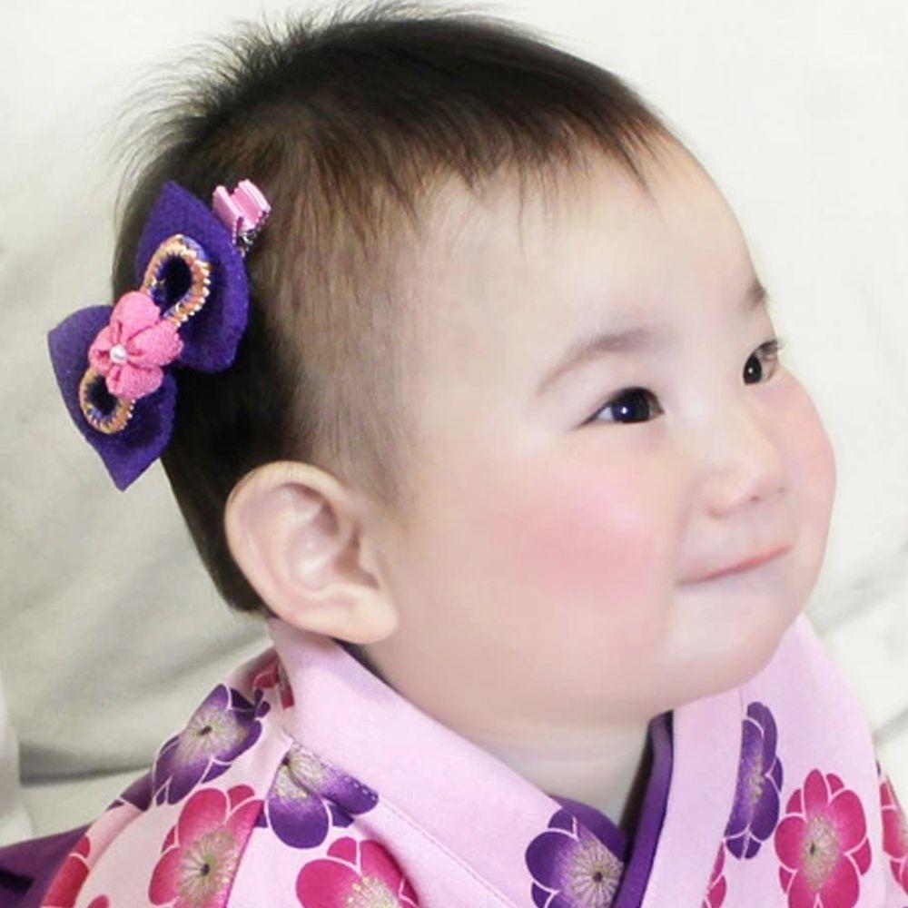 日本服飾代購 - 日本製傳統蝴蝶結髮夾-花朵-紫 (FREE)