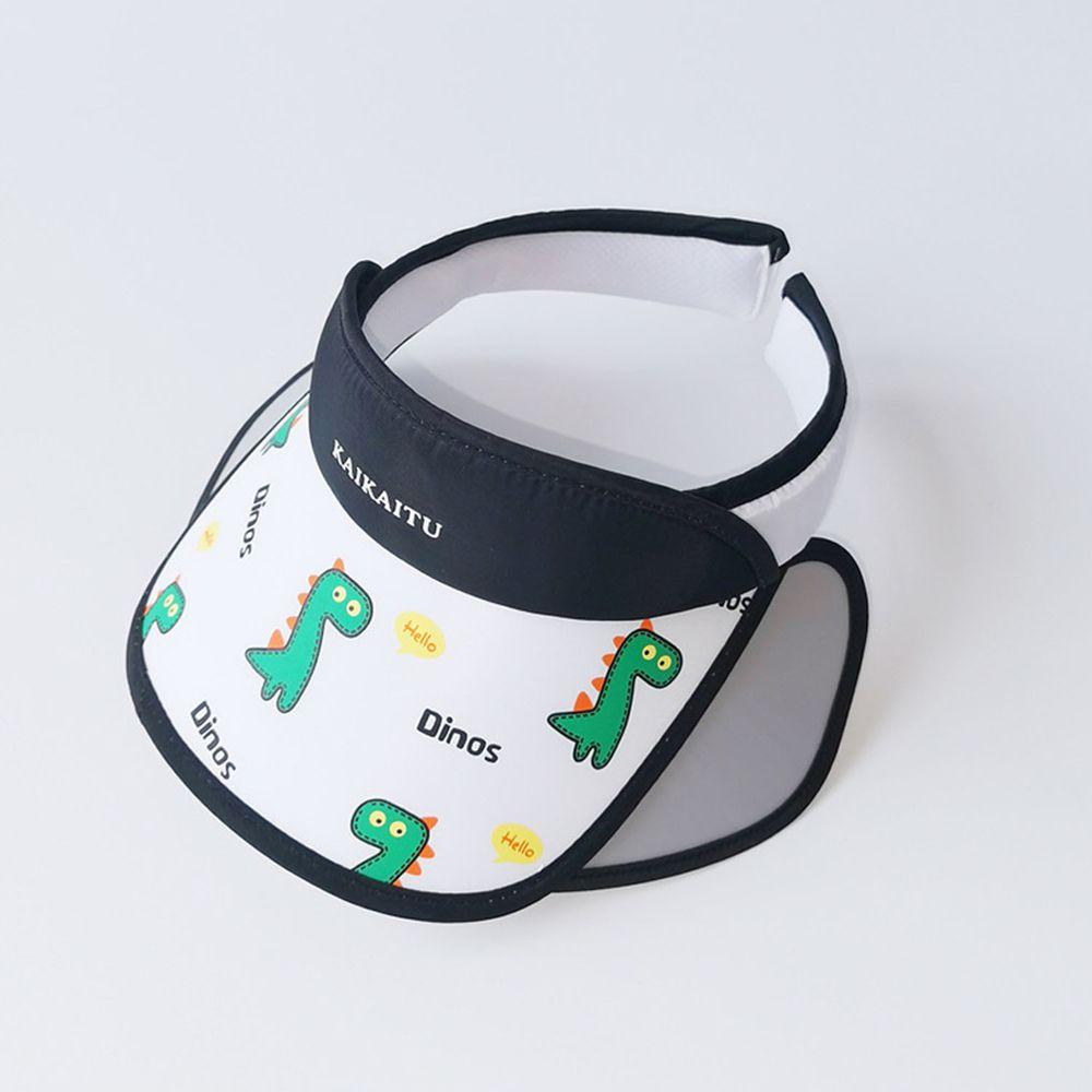 兒童大帽沿空頂遮陽帽-恐龍-白色 (50-53cm)