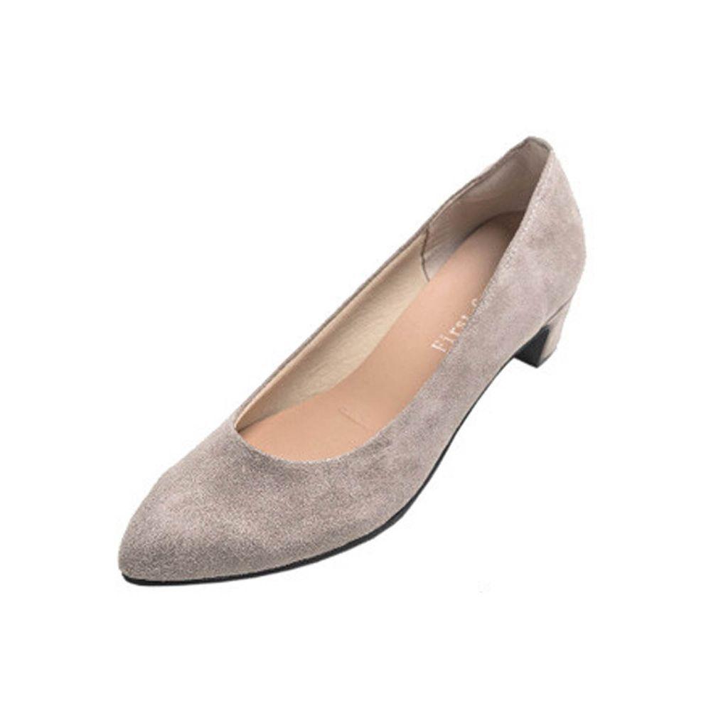 日本女裝代購 - 日本製 柔軟尖頭5.5cm高跟鞋-麂皮-淺灰