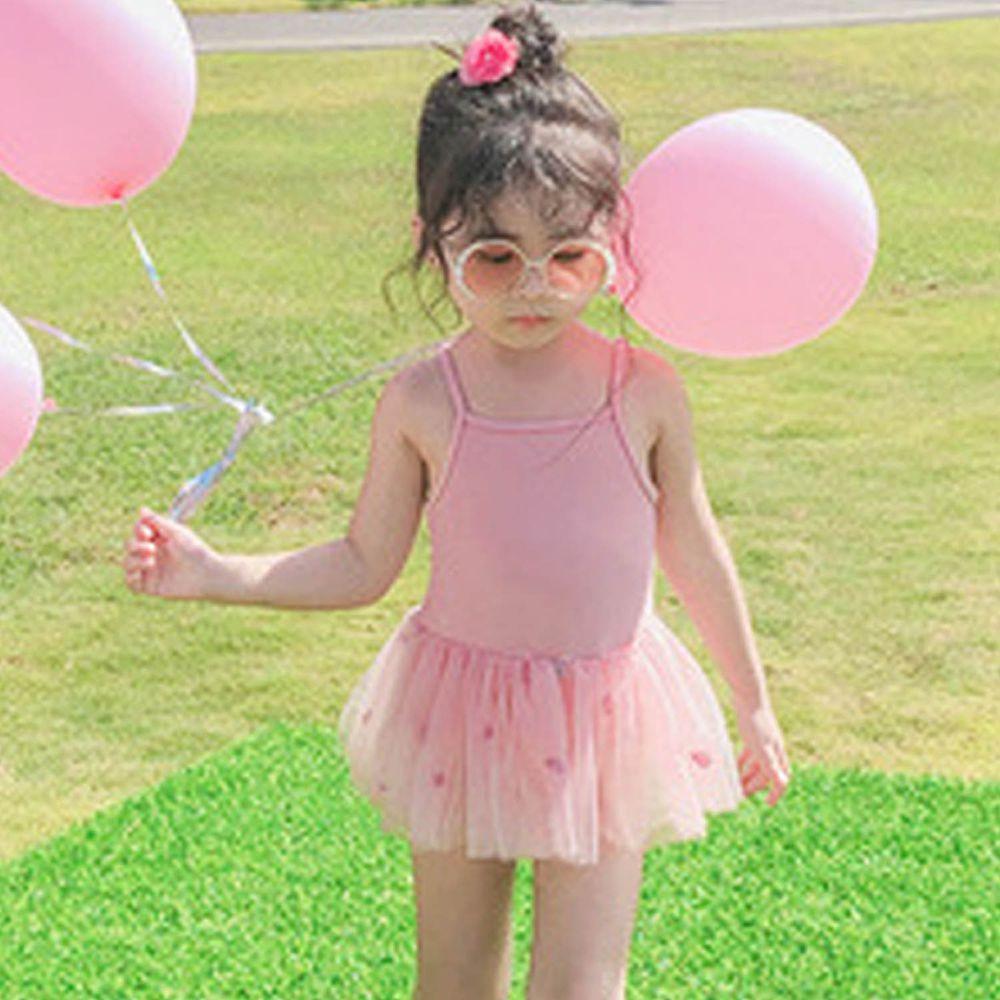 交叉美背兒童泳裝-粉色