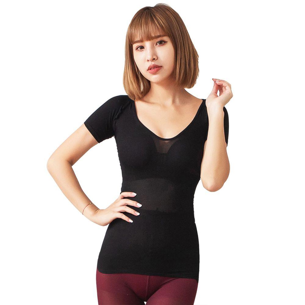 GIAT - 零肌著遠紅外線隱形美體發熱衣(短袖款)-黑色