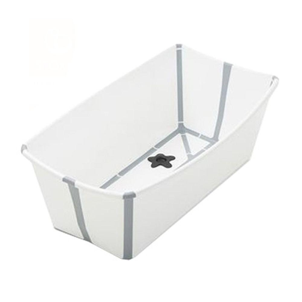 Stokke - Flexi Bath折疊式浴盆(感溫水塞)-白色(灰色包邊)
