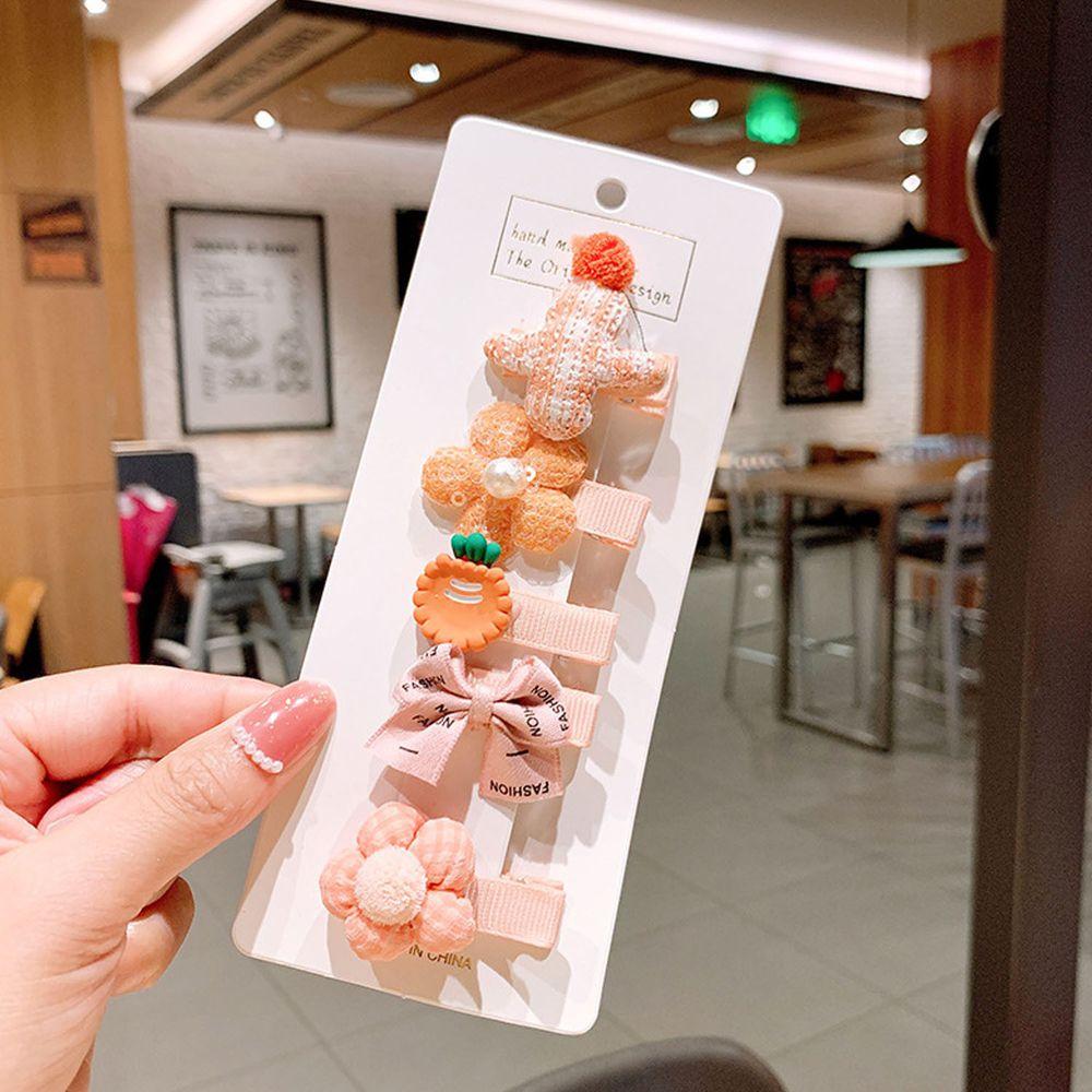 粉嫩色系寶寶髮夾5件組-橘色小花