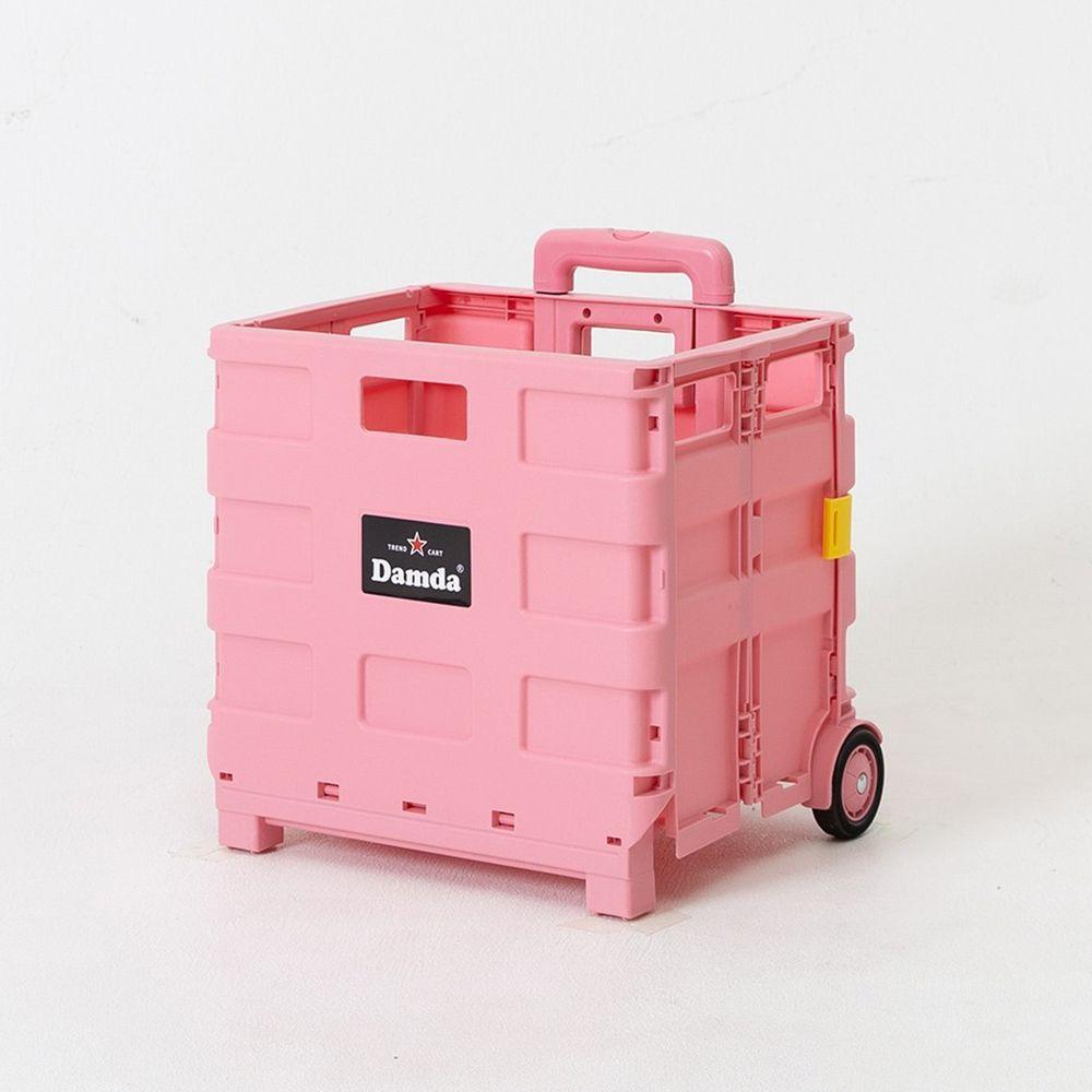 韓國 Damda - 折疊收納手拉車-小-櫻花粉-尺寸:38X30cm, 容量37L